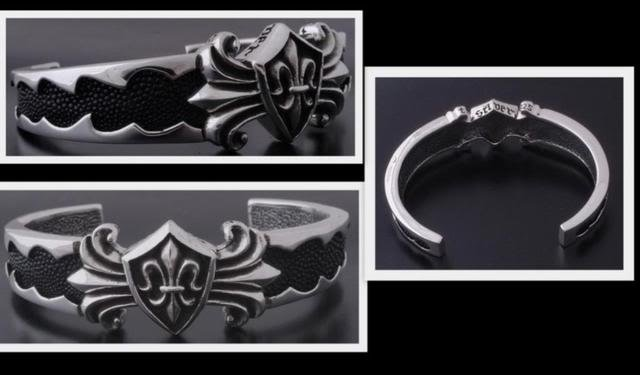 STERLING SILVER FLEUR DES LIS BIKER BRACELET / BANGLE