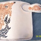 BIFOLD CARVED TRIBAL FLOWER TRIBAL CALF LEATHER WALLET