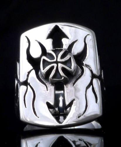 925 SILVER MALTESE CROSS TRIBAL ARROW BIKER CHOPPER ROCKSTAR KING PUNK RING 12