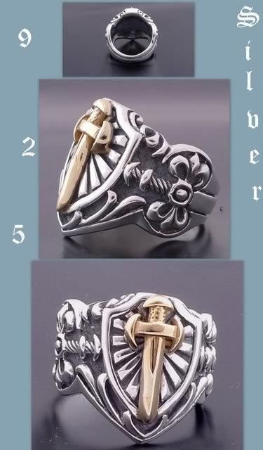 Custom 925 Silver Dagger Sword Medieval Templar Biker Chopper Ring US sz 9