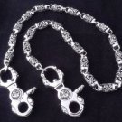 925 Sterling Solid Silver Crown Skull Clasp Biker Chopper King Walletchain New