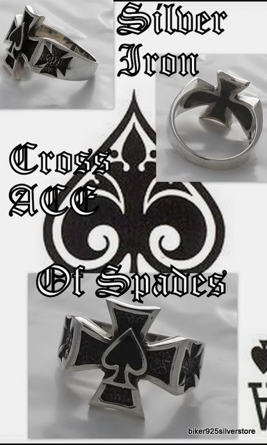 925 Silver Maltese Cross Good Luck Ace of Spades US 11
