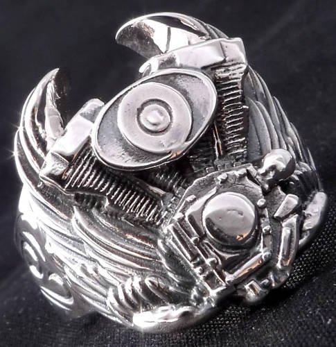 925 Sterling Silver Tribal Piston Wing Biker Chopper Rockstar Ring US sz 10.25