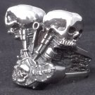 CUSTOM 925 STERLING SILVER DOUBLE SKULL PISTON BIKER ROCKSTAR RING US sz 12.25