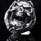 925 STERLING SILVER CUSTOM ENCRUSTED SKULL JAW KING BIKER ROCKSTAR RING sz 12