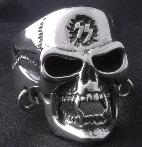 925 STERLING SILVER CUSTOM PIERCED SKULL SYMBOL BIKER CHOPPER RING US sz 8.75