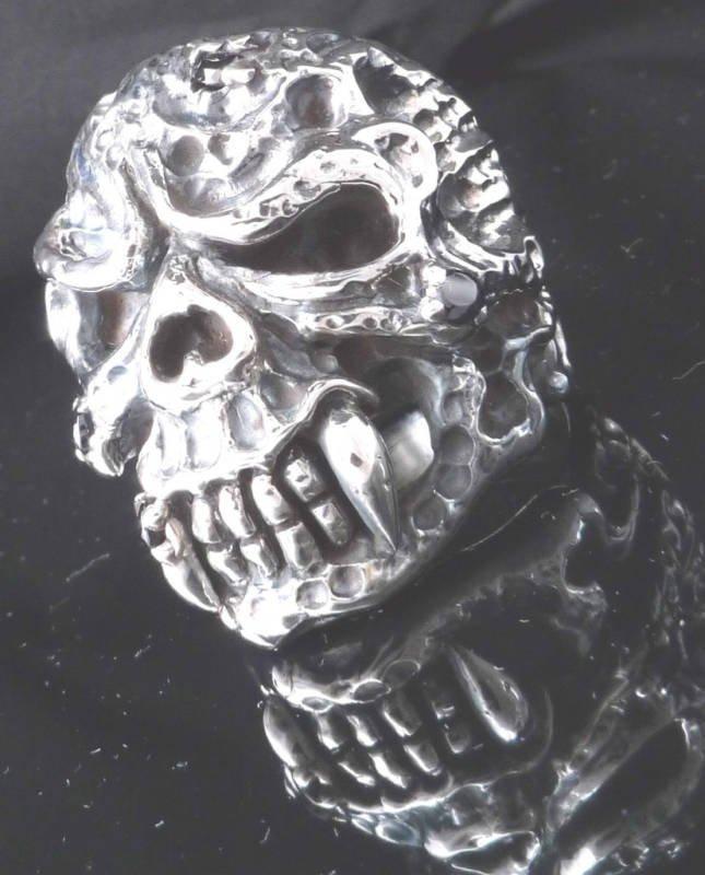 925 STERLING DEMON SABER TOOTH SKULL BIKER ROCKSTAR CHOPPER KING RING US SZ 12
