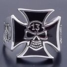 LUCKY 13 IRON CROSS 925 STERLING SILVER BIKER CHOPPER ROCK STAR RING US SZ 12