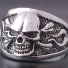 Custom 925 Sterling Silver Skull Bone Flame Biker Chopper King Ring US sz 13