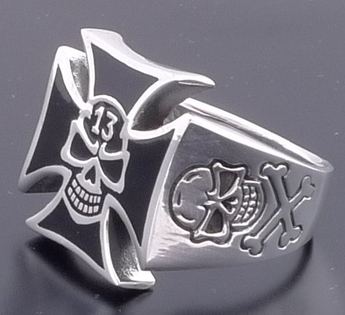LUCKY 13 IRON CROSS 925 STERLING SILVER BIKER CHOPPER ROCK STAR RING US SZ 12.5