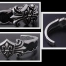 925 STERLING SILVER FLEUR DES LIS BIKER CHOPPER AWESOME BRACELET BANGLE