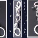 """925 SILVER SKULL CLASP TRIBAL TATTOO KING CRUSADER ROCKSTAR BIKER KEYCHAIN 5"""""""
