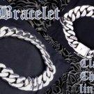 """925 STERLING FANCY SMOOTH CHAIN BIKER ROCKER KING LOWRIDER SILVER BRACELET 9"""""""