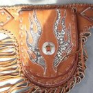 TRIBAL FLAME BROWN CALF LEATHER LADIES HIPSTER CHOPPER BIKER MONEY PUNK BELT