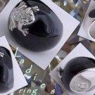 925 STERLIING SILVER FROG BLACK ENAMEL LADIES WHITE ZIRCONIA RING US sz 6.75