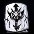 925 SILVER IRON CROSS TRIBAL ARROW BIKER CHOPPER CRUSADER RING US sz 7 to 15