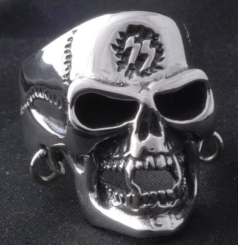 925 STERLING SILVER PIERCED SKULL SYMBOL LIVE TO RIDE BIKER RING US sz 7 to 15