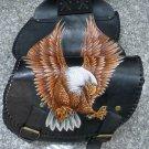 CARVED AMERICAN EAGLE CHOPPER LOWRIDER OUTLAW BIKER MOTORCYCLE LEATHER SADDLEBAG