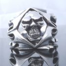 925 STERLING SILVER TRIBAL SKULL MOTORCYCLE RIDER CHOPPER RING US SZ 7 TO 15