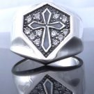 GOTHIC CROSS 925 STERLING SILVER ZIRCONIA GEM CRUSADER KING RING US SZ 7 TO 15