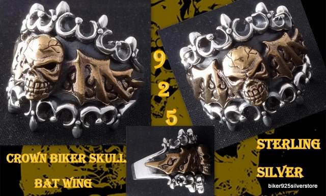 925 STERLING CROWN BIKER SKULL BAT WING OUTLAW RING US SZ 7 TO 15