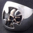 HIDDEN SKULL MALTESE CROSS BIKER 925 STERLING SILVER RING US SZ 7 TO 15