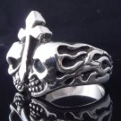 925 STERLING SILVER SKULL FLAME GOTHIC CROSS ROCKSTAR RING US SZ 10.25
