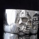 SILVER PLATED BIKER HALF SKULL CHOPPER KING RING US sz 10