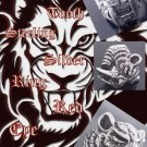 TIGER SABER TOOTH 925 STERLING SILVER RED GEMSTONE EYE BIKER RING US sz 9