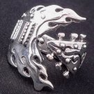 925 STERLING SILVER GUITAR ROCKBAND OUTLAW PUNK RING US sz 11