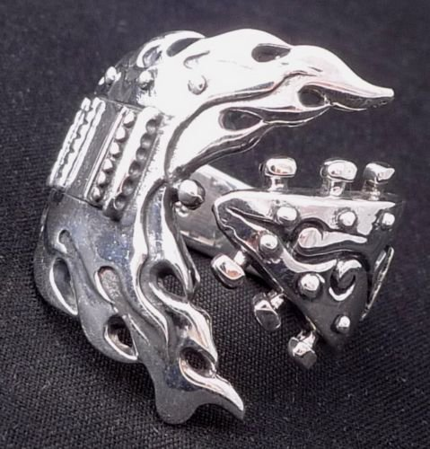 925 STERLING SILVER GUITAR ROCKBAND MUSICIAN CHOPPER KING RING US sz 7