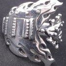925 STERLING SILVER GUITAR ROCKBAND ROCKSTAR CHOPPER RING US sz 11