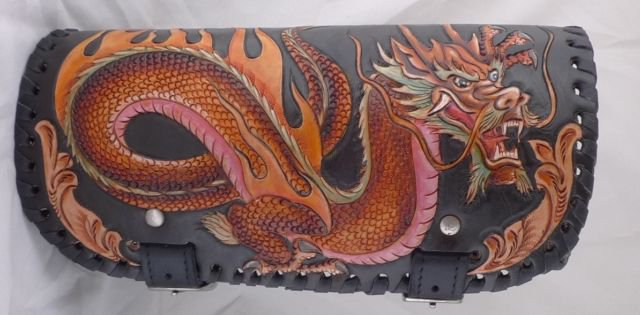 Carved DRAGON Motorcycle Calf Leather Live To Ride Rockstar Fron Fork Tool Bag