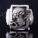 925 STERLING SILVER SKULL ROSE BONE ZIRCON LIVE TO RIDE BIKER RING US SZ 7 TO 15