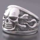 Sterling 925 Silver Skull Bone Flame Motorcycle Ring US sz 12.5