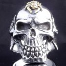 925 STERLING SILVER SKULL SPIDER JAW LOWRIDER MUSIC PLAYER RING US sz 13