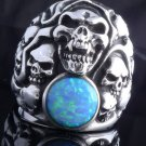 925 STERLING SILVER TURQUOISE GEM SKULL YARD LOWRIDER RING US sz 10.5  NEW
