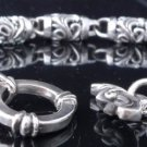 "925 STERLING SILVER TRIBAL BARREL LINK LOWRIDER CHOPPER BRACELET 7"" TO 9"""