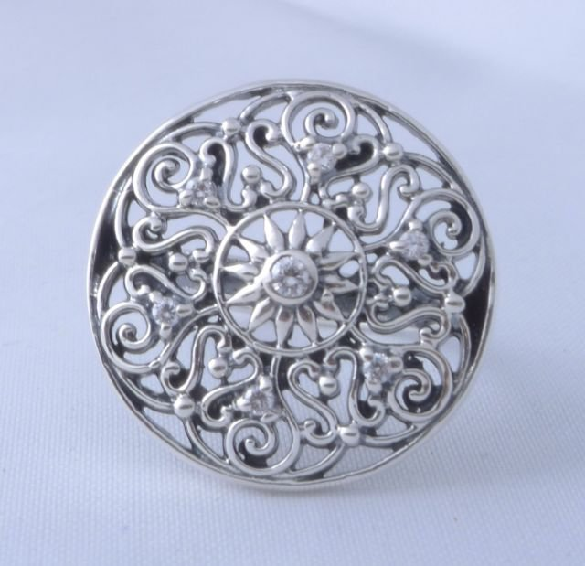 925 STERLING SILVER MODERN TRIBAL SUN LADIES RING US sz 9