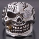 925 Silver 3D Skull Cigar Biker Pirate Motorcycle Rider  us sz 7 to 15