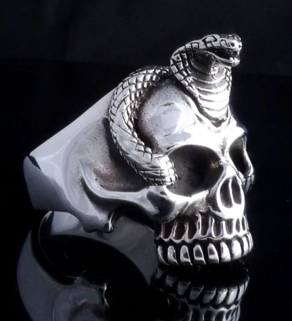 925 STERLING SILVER CUSTOM SKULL JAW COBRA SNAKE BIKER RING US sz 8