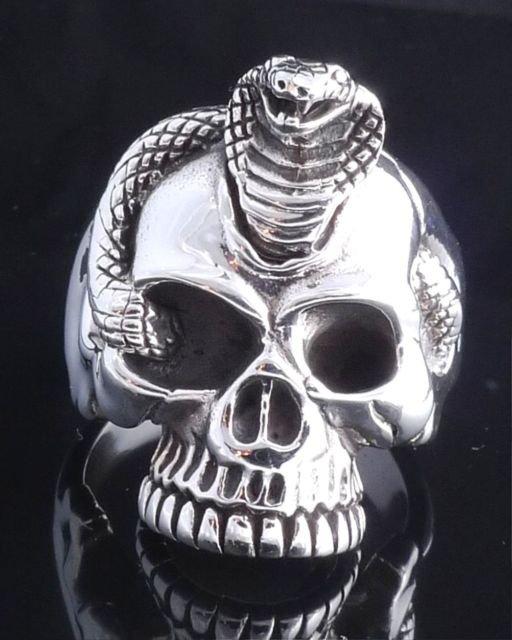 925 STERLING SILVER SKULL JAW COBRA SNAKE ROCKSTAR RING US sz 7.5 NEW