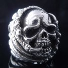 AMAZING 925 SILVER ENCRUSTED OUTLAW SKULL LOWRIDER KING RING US sz 11