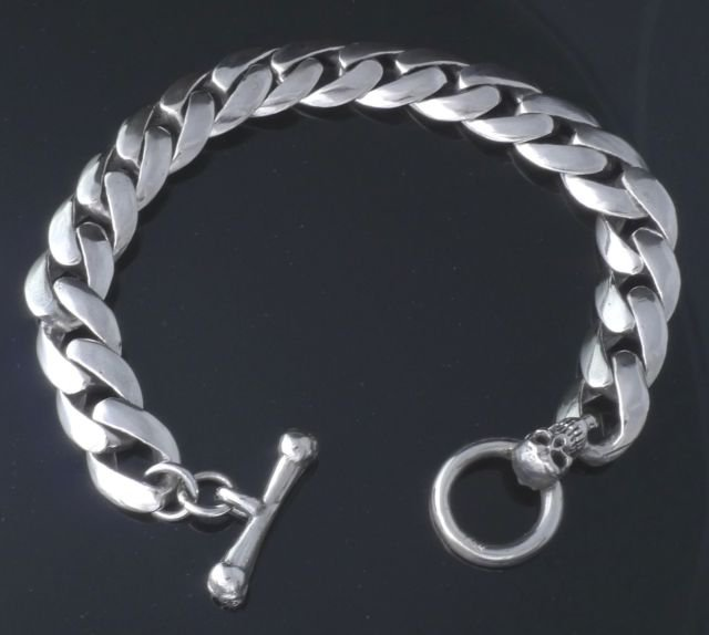 """CUSTOM 925 SILVER SMOOTH LINK SKULL CLASP LIVE TO RIDE CHOPPER BRACELET 7"""" TO 9"""""""