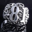 925 STERLING SILVER SKULL NUMBER 81 CHOPPER KING RING US sz 7.5