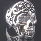 925 STERLING SILVER TATTOO SKULL GEMSTONE OUTLAW CHOPPER RING US sz 10.5