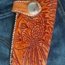 BIFOLD CARVED TRIBAL INDIAN CALF LEATHER OUTLAW CHOPPER WALLET