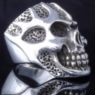 925 STERLING SILVER SKULL FLAME BIKER KING RING US sz 8 NEW