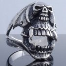 STAINLESS STEEL SKULL SABER TOOTH BIKER RING US SZ 11