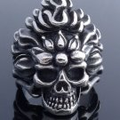 STAINLESS STEEL SKULL FLAME BIKER LOWRIDER RING US SZ 11
